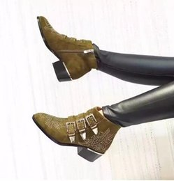 Buckle Studded Boots NZ - Fashion Celebrity Susanna Ankle Boots Women Buckles Rivets Studded Shoes Woman Vintage Low Heel Velvet Riding Booties Zip