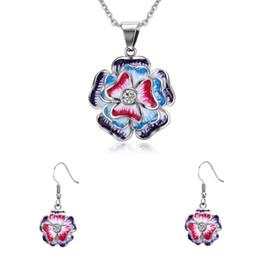 Wholesale Pendant Sets NZ - High Quality Polished Stainless Steel Shiny Rhinestones Christmas Gifts Earrings Fashion Flower Enamel Jewelry Sets Pendant & Hoop Earrings