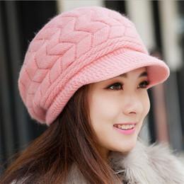 Black Knit Hat Brim Canada - 2016 New Arrival Elegant Women Knitted Hats Rabbit Fur Cap Autumn Winter Ladies Female Fashion Skullies Hat Wholesale