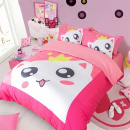 $enCountryForm.capitalKeyWord NZ - Hot Sale 2017 New Arriving Pink Cat Printing Bedding Sets Twin Full Queen King Size Fabric Cotton Duvet Covers Pillow Shams Comforter Animal
