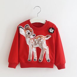 Barato Lantejoulas-Everweekend Kids Girls Western Fashion Autumn Sequins Deer Top Clothing Baby Girls Flowers Tees Crianças Tops de animais