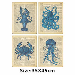 blue wall art picture Australia - Blue Animal newspaper crab picture decoration lobster Cuttlefish printed letters Jellyfish Canvas Painting wall Art unframed