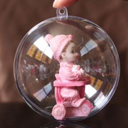 ball box plastic 2019 - New 5cm 6cm 7cm 8cm 10cm 12cm 16cm Clear Plastic Round Ball Sweet Candy Box Xmas Tree Ornament Decorations Gift Hanging