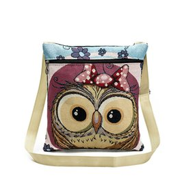 Chinese  2017 New Jacquard Embroidery Canvas Owl Printing Messenger Bag Female Cartoon Animal Prints Cross body Bag Shoulder Bag wholesale manufacturers