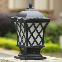 Led Outdoor Post Lamps Bronze Antique Black Gridding Wall Light Waterproof Outdoor Led Post Light Door Top Wall Post Lights Bollard Lamp