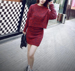 00123bc471d3 Fashion Women Sweater Skirt Set Spring Autumn Tops+Short Skirts Europe Slim  Long Sleeve Knitted Suit Twinset Women Clothing