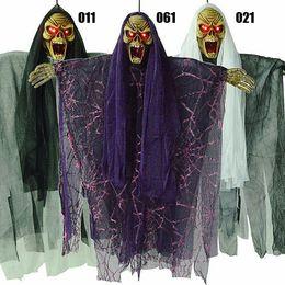 discount creepy halloween decorations halloween creepy haunted voice control hanging scream scarves ghost skeleton door decoration - Discount Halloween Decorations