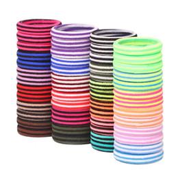 Lots 72 Pcs / pack Taille 4 cm À Rayures Colorés Élastiques Bandes En Caoutchouc Accessoires De Cheveux Coloré Bandeau Filles Cravate en Solde