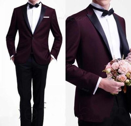 $enCountryForm.capitalKeyWord Canada - Hot Sale Tuxedos Dark Red Groom Tuxedo Wedding Party Groomsman Suit Boys Suit (Jacket+Pants) Bridegroom Suit