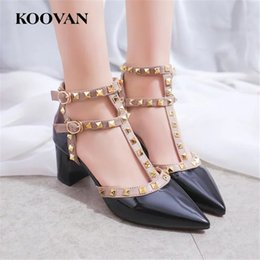 Two Black Shoes Canada - Rivets High Heel Women Pump Fashion Designer V Two Straps Chunky Heel Wedding Shoes Sexy Sandals Pointed Shoes Free Ship R08