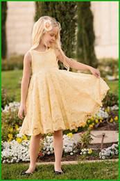 Pale Yellow Girls Party Dress Canada - princess lace party girls dress elgant beautiful yellow floral mid-length children dresses summer lovely casual female clothing