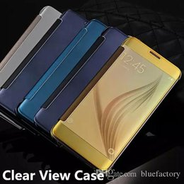 TransparenT flip cover s6 edge online shopping - Mirror Clear View Flip Smart Case for Samsung Galaxy S7 S8 S6 edge Note plated Transparent Leather Plastic Skin Cover with Box