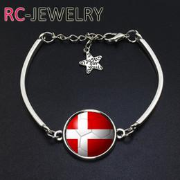 Cup Chain Settings Australia - Spherical flag Fashion Jewelry Denmark football team Flag bracelet Hand-made World Cup Alloy bracelet Bracelet Bangle