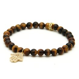 good quality rings 2019 - Hot Wholesale 6mm Natural Good Quality Stone Beads Micro Pave Zircons Fatima Hamsa Pendant Bracelets Girl cheap good qua