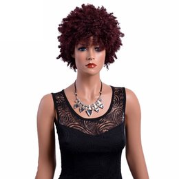 China Short Curly Burgundy Wigs for Black Women 8 Inches American African Synthetic Afro Wig High Temperature Fiber Hair cheap african hair wigs women suppliers