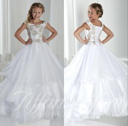 Wholesale Long Kids Girl s Pageant Robes de soirée Manteaux à capuchon Lace Up Back Princess Tiered Tulle Crystal Flower Girl Robes Robes pour ados BO9920