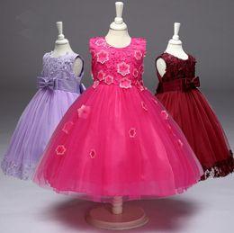 En gros de grandes filles robe de bal enfants robe de bal d'étudiant de fleur robes jupes en dentelle 8 couleurs boutiques de la fille robe robe de mariée vente chaude