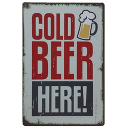 rustic wall decor Australia - Cold Beer Here Retro rustic tin metal sign Wall Decor Vintage Tin Poster Cafe Shop Bar home decor