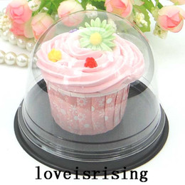 Discount clear plastic wedding favor boxes 30Sets Clear Plastic Cupcake Cake Dome Favor Boxes Container Wedding Party Decor cake box