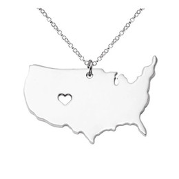 Discount Usa State Charms U S State Map Pendant Necklace Stainless Steel Rose Gold With Love Heart