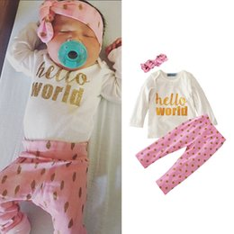 infant winter suits NZ - Boys Girls Clothing Sets Pink with Band Winter Autumn Spring Casual Suits Shirts Pants Hat Infant Outfits Kids Tops & Shorts 0-24M