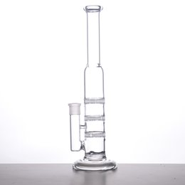 Chinese  GLASS BONG 38mm Tube 3 Clear Honey Comb Perc Disk Water Pipe Glass Bong With Free Charge Matching Dry Bow manufacturers