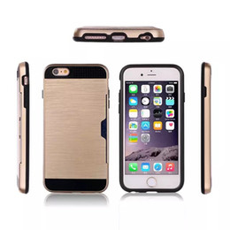 Iphone Case Double Card NZ - metal color case for iphone 5S Card slot function 2 in 1 double protection Shockproof