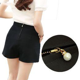 White Shorts Australia - Fashion Pearl zipper black white Women Shorts Summer High Waist Casual Pockets Zipper Back Ladies Beach Mini Shorts