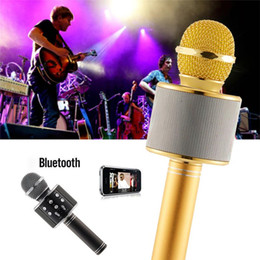 bluetooth wireless microphone for ipad NZ - Wireless Speaker Microphone WS858 Handheld Karaoke Hifi Bluetooth Player For iphone 7plus 7 ipad Samsung Tablets PC With Retail Box