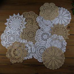"White Cotton Napkins Canada - lot of 14 Hand Crochet Doily White Beige Cotton 7""-8"" Table Napkin for Mat Pad Home Wedding Decorative"
