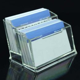 Acrylic Office Supplies Canada - Free Shipping 2pcs Double Layer Acrylic Business Card Holder Business Card Case School Office Destop Supplies Papelaria