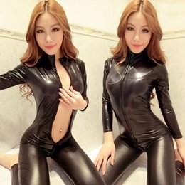 Barato Trajes Eróticos Para Mulheres-Mulher Black Sexy Bodysuit Costume Fantasias Sexy Latex Catsuit Com Zipper Para Crotch Long Sleeve Pvc Leather Erotic Lingerie