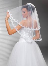 $enCountryForm.capitalKeyWord NZ - Hight Qualityr Best Sale Two Layer Elbow Length White Ivory Lace Applique veil Mantilla Veil Bridal Head Pieces For Wedding Dresses