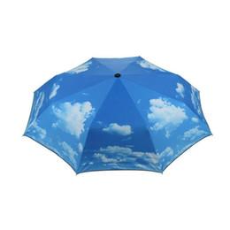 $enCountryForm.capitalKeyWord Canada - Creative Blue Sky Umbrella Rain Women 3-Fold Sunblock UV Block Protection Travel Compact Lightweight Umbrella ZA1169