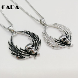 skull wing pendants Canada - CARA New Angle wings skull pendant necklace 316L stainless steel full CZ stones skull Gothetic necklace halloween gift CAGF0420