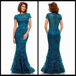 elegant mother bride dresses petite UK - Elegant Turquoise Lace Evening Dresses Long 2016 Floor Length Mermaid Formal Evening Gowns Party Mother of the Bride Dresses