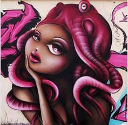 $enCountryForm.capitalKeyWord Australia - Framed girl face purple hair STREET ART,Hand Painted WALL DECOR GRAFFITI Art Oil Painting On Quality Canvas.Multi sizes Available graffit