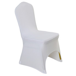 universal polyester chair covers NZ - 100 pcs Universal White Polyester Spandex Wedding Chair Covers for Weddings Banquet Folding Hotel Decoration Decor Hot Sale Wholesale