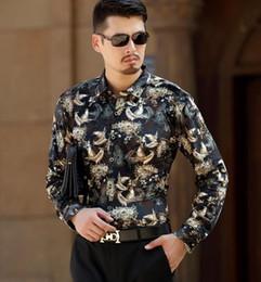 Fitted Silk Shirt Mens Canada - Top Fashion Birds Print Mens Silk Shirts Long Sleeve Velvet Dress Shirt Casual Formal Slim Fit Floral Shirt For Man