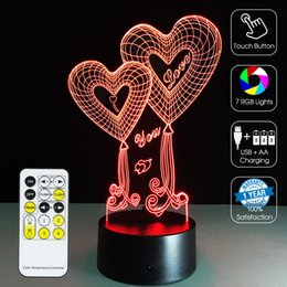 Night Lamp Star Love Canada - 2016 Love 3D Optical Lamp Night Light 7 RGB Lights Dimmable DC 5V AA Battery IR Remote Control Retail Box