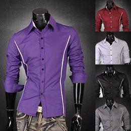 $enCountryForm.capitalKeyWord Australia - Wholesale- 2016 New Arrival Promotion Fashion Casual Design Solid Stripe Comfortable Trendy Business Mens Dress Shirt 6 Colors 6 Sizes 8384