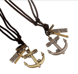 Male chain Models online shopping - 2017 new European and American foreign trade necklace punk new leather necklace anchor male and female models long leather necklace