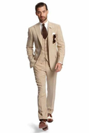 Chinese  New Design Two Button Beige Groom Tuxedos Groomsmen Best Man Suits Mens Wedding Blazer Suits (Jacket+Pants+Vest+Tie) NO:567 manufacturers