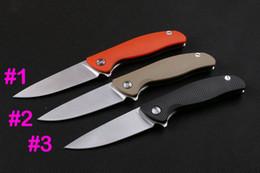 wholesale lock blade knife 2019 - Cutom Knives - Ball Bearing Flipper knife 440C Satin finish blade Outdoor survival rescue knives Liner Lock cheap wholes
