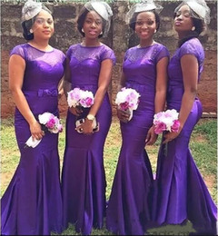 formal africa dresses 2019 - South Africa Long Bridesmaid Dresses 2018 Sheer Jewel Neck with Bow Ribbon Maid of Honor Gowns Country Formal Wedding Gu