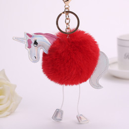 white rabbit accessories UK - Unicorn Pony Keychain Lovely Fluffy Pendant Artificial Rabbit Fur Key Chain Bag Car Key Ring Hang Bag Accessories