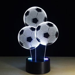 Football led night online shopping - Footballs D Optical Illusion Lamp Night Light DC V USB Charging th Battery Dropshipping