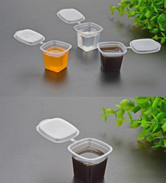 1 oz 30ml PP desechable taza de salsa de degustación vaso de plástico duro transparente con tapa conectada envío libre 500pcs en venta