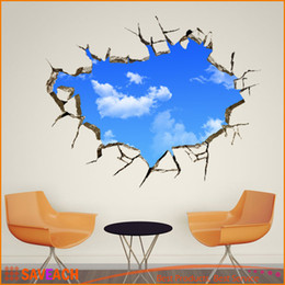 House Window Stickers Canada - Vivid Window Hole Landscape Blue Sky White Cloud 3D Wall Sticker, Creative Home Decal For House Living Room Roof Decals Stickers