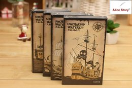 Discount notebook hardcover - Wholesale- Vintage Uncharted Waters pirate cute hardcover 3-fold notepad memo small notebook 3 styles in 1 set